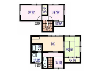 戸建住宅3間取りイメージ